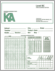 Kuhlmann-Andersron Tests Machine-Scorable: Starter Set Level K, A, or BC - Product Image